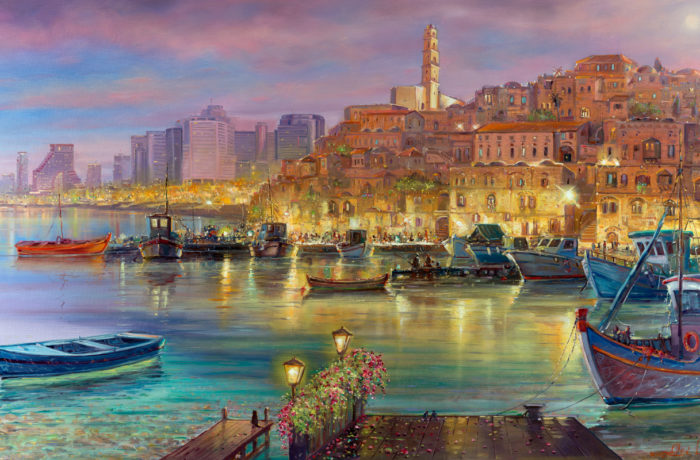 Original Oil Painting: There's a moon over Jaffa port tonight