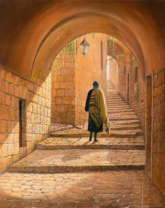 man walking in jerusalem painting