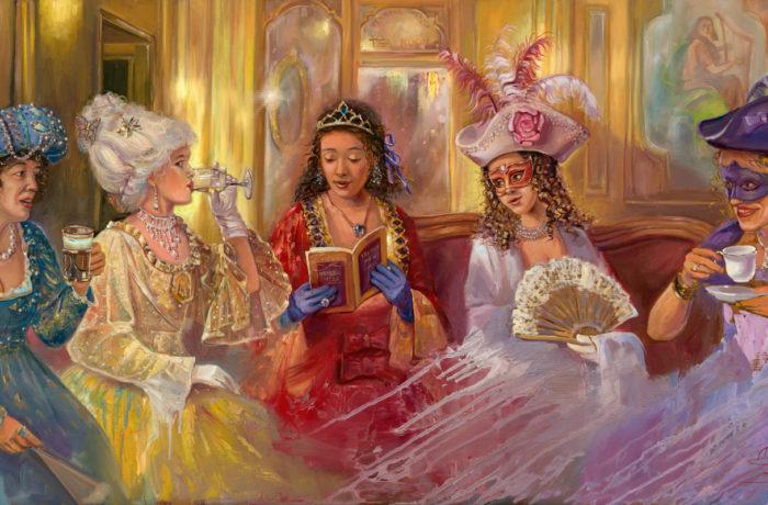 Original Oil Painting: Venice nightlife in Caffe Florian
