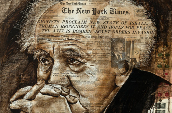 Original Oil Painting: Zionists Proclaim new State of Israel