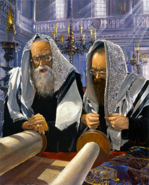 praying with torah painting