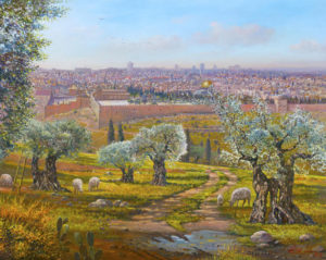 olive trees jerusalem painting